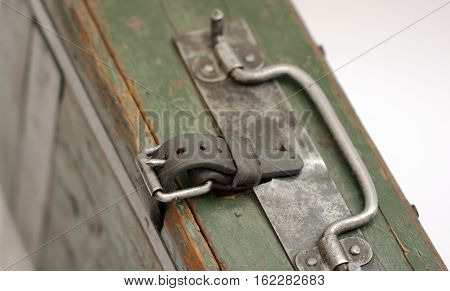 Leather fastening on the German military suitcase used in the Second World War