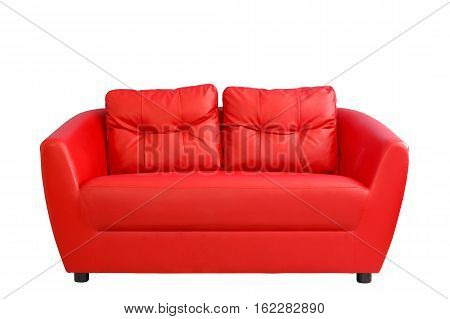 Red sofa funiture isolated on white background