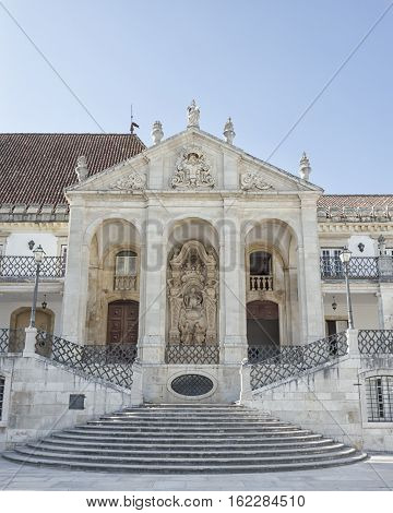 Entrance to the Coimbra University. The University of Coimbra established in 1290 it is one of the oldest universities in continuous operation in the world the oldest university of Portugal.