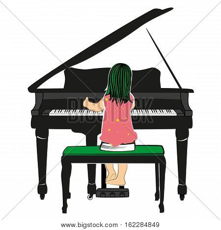 Child dressed in pink dress playing the piano