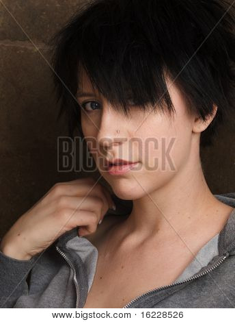 Young woman with pretty face and short hair