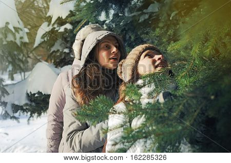 Two Young Girls Among Spruce Branches In Winter