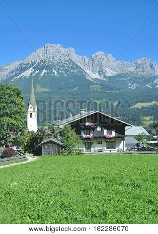 popular Village of Ellmau at Wilder Kaiser Mountain in Tirol,Alps,Austria