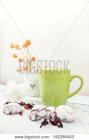 Chocolate Crinkles Cookies And Hot Chocolate
