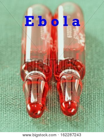 Two ampules  for injection with sign Ebola