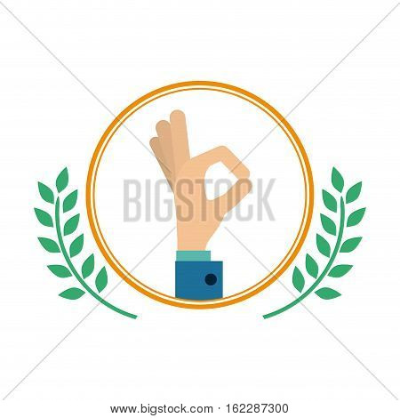 Postive hand inside label icon. Happiness positivity attitude and optimisn theme. Isolated design. Vector illustration