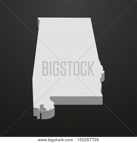 Alabama State map in gray on a black background 3d