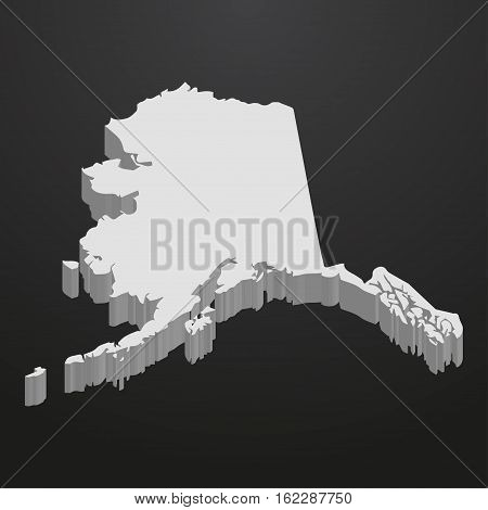 Alaska State map in gray on a black background 3d