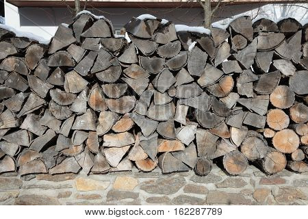 pattern of brown wood log background texture. Pile of wood logs / Timber texture. Beautifully structured pieces of dry wood suitable for heating in the fireplace.