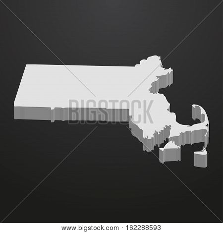 Massachusetts State map in gray on a black background 3d