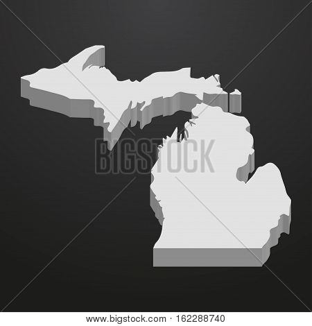 Michigan State map in gray on a black background 3d