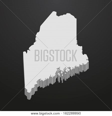 Maine State map in gray on a black background 3d