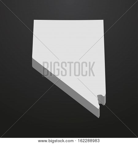 Nevada State map in gray on a black background 3d