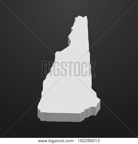 New Hampshire State map in gray on a black background 3d