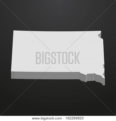 South Dakota State map in gray on a black background 3d