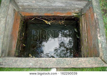 water source hewed wooden to drink of water