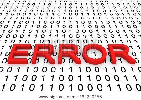 error in binary code background 3D illustration