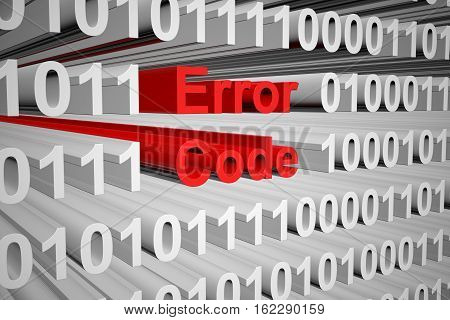 Error code as a binary code 3D illustration