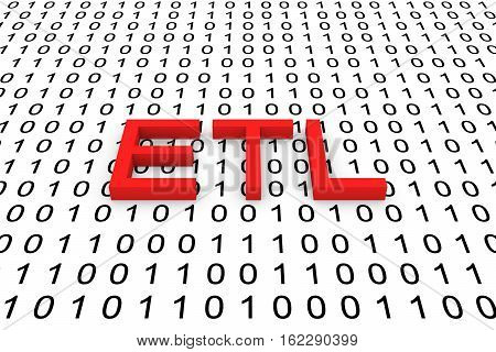 ETL in the form of binary code, 3D illustration