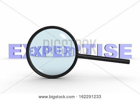 expertise on white background in the lens 3D illustration