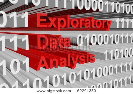 Exploratory Data Analysis in the form of binary code, 3D illustration