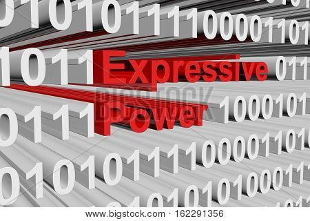 Expressive power in the form of binary code, 3D illustration
