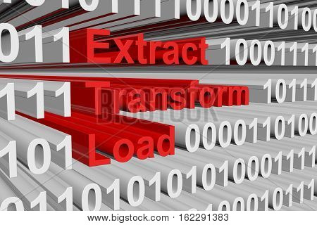 Extract Transform Load in the form of binary code, 3D illustration