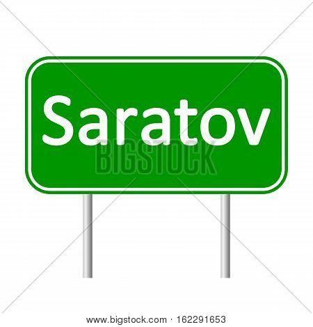Saratov road sign isolated on white background.