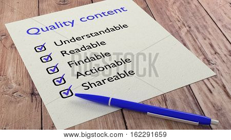 Blue ballpen with items from a quality content characteristics checklist 3D illustration