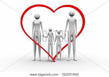 a loving family on a white background 3D illustration