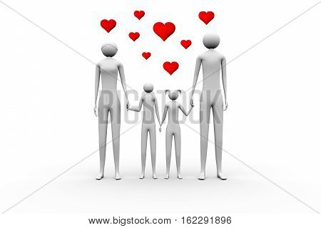 a loving family on a white background 3D illustration