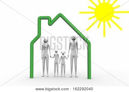 happy family in the house under the sun on white background 3D illustration