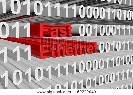 Fast Ethernet in the form of binary code, 3D illustration