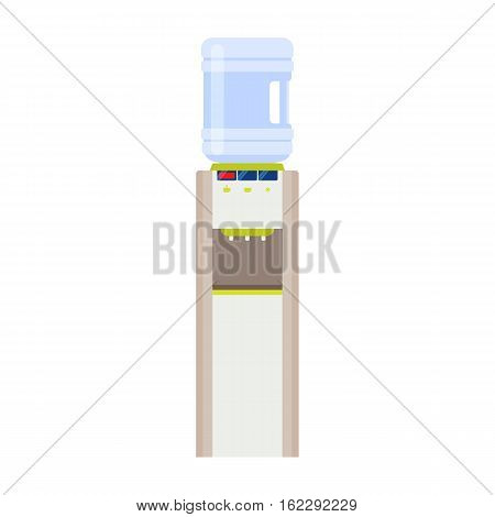 Water cooler with three taps and bottle. Modern flat illustration isolated on white background