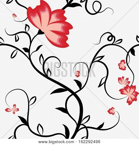 Seamless pattern with intertwining flowers bindweed. Black stems and red flowers on a white background. Vector illustration.