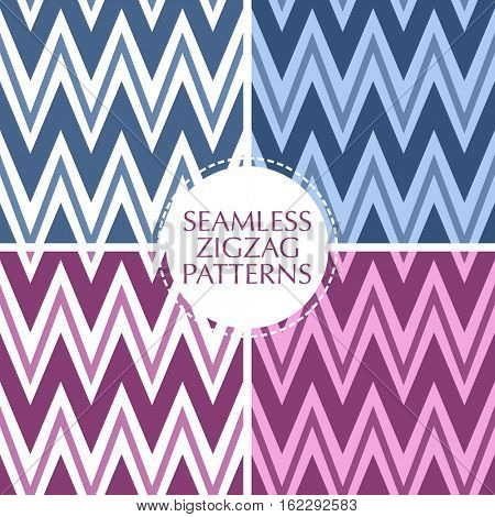 Seamless retro zigzag stripes patterns set. Background collection in trendy colors.