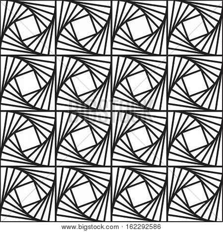 Seamless abstract lines pattern. Black and white geometric background.