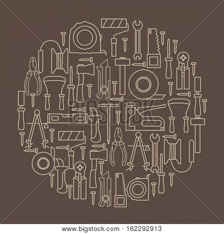 A set of hand tools for construction and repair located inside the circle on a brown background. Vector illustration.