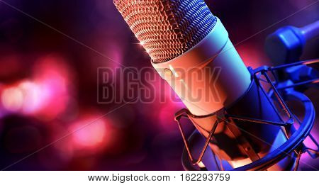 Close Up Studio Condenser Microphone And Equipment Live Recording