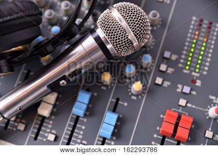 Recording Equipment In Studio Top View