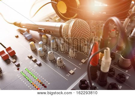 Recording Equipment In Studio Front Elevated View