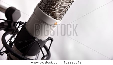 Studio Condenser Microphone And Equipment White Background