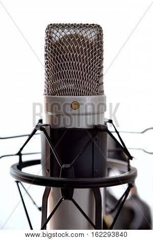 Studio Condenser Microphone And Equipment White Background Front View