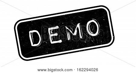 Demo rubber stamp. Grunge design with dust scratches. Effects can be easily removed for a clean, crisp look. Color is easily changed.