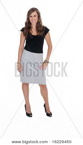 Full body isolated photo of attractive young woman wearing formal business clothing.