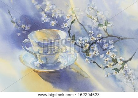 China porcelain cup and plate with blooming cherry branch watercolor