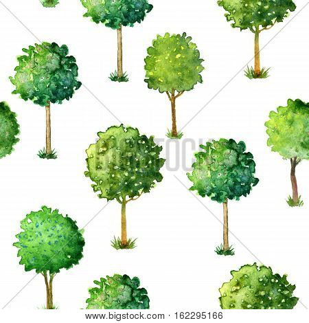 seamless pattern with flowering trees trimmed in the shape of a ball with green leaves and flowers, hand drawn artistic watercolor painting illustration