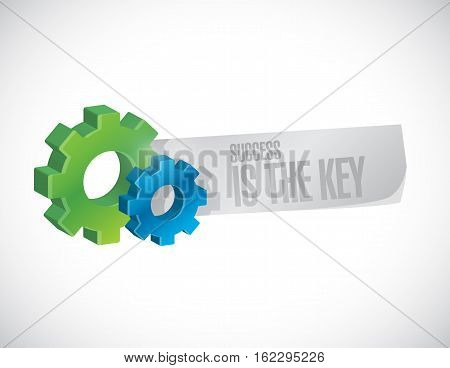 Success Is The Key Gear Industrial Sign Concept