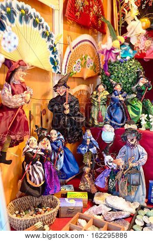 ALICANTE, SPAIN-JULY 10: Witches sold on tourist market as souvenirs 10.07.2015 in Alicante, Spain