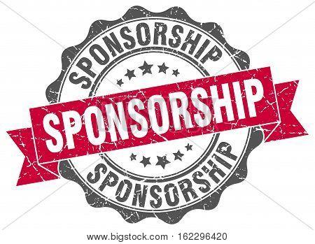 sponsorship. stamp. sign. seal. round. retro. ribbon